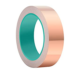 ASIV 30mm X 20M Copper Foil Tape, Double-Sided Conductive Adhesive Tape for Guitar, EMI Shielding, Slug Repellent, Grounding and Soldering