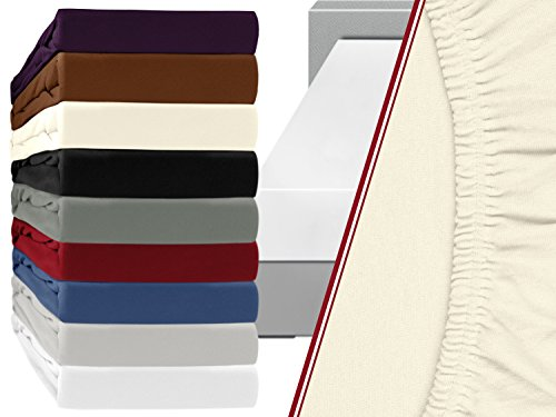 Elastan-Jersey-Spannbetttuch - Steghöhe ca. 28 cm - geeignet für handelsübliche Standardmatratzen sowie Wasser- & Boxspringbetten - blickdichte Qualität aus 95% Baumwolle und 5% Elastan, 140-160 x 200 cm, natur (Baumwoll-jersey Perlen Aus)