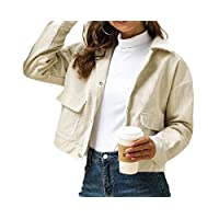 ‏‪GAGA Women Casual Loose Button Solid Color Pocket Casual Long Sleeve Lapel Short Coat 1 XS‬‏