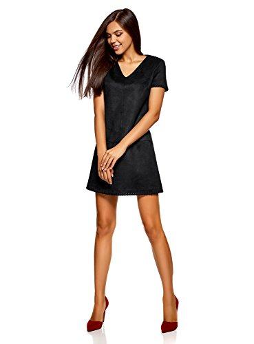 oodji Ultra Damen Kleid aus Kunstleder mit V-Ausschnitt Schwarz (2900N)