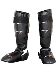 TurnerMAX Shin instep Pad jambe Pied et film de protection en PVC d'entraînement pour arts martiaux Kick boxing Gear de protection avec amovible Chaussures Noir