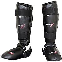 TurnerMAX espinilleras para pierna y pie protector artes marciales Kick Boxing entrenamiento PVC aenergy con zapatos desmontables negro pequeño