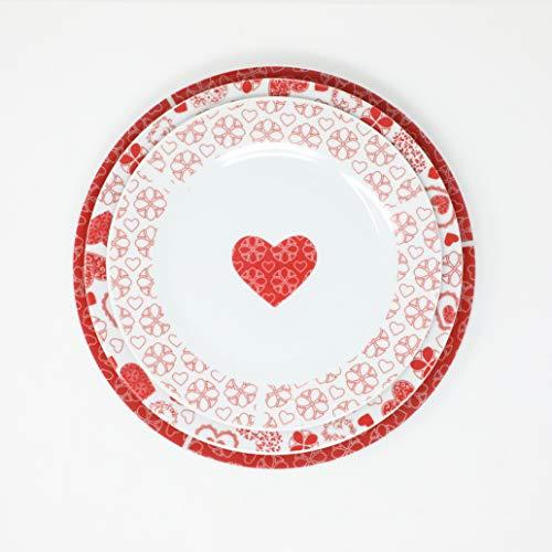 Omnia Casa Service d'assiettes en Porcelaine 19pz Mod. Hearts Rouge