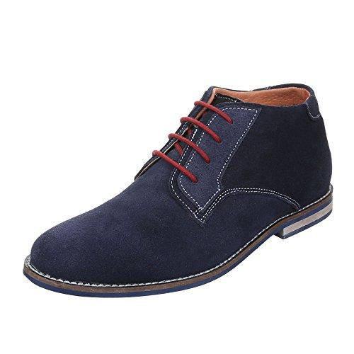 Herren Leder Schuhe Blockabsatz Oxford Schnürsenkel Schnürschuhe Halbschuhe Blockabsatz Ital-Design Blau