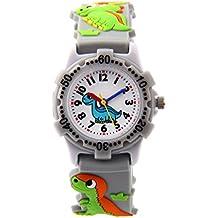 Montre Garçon Pédagogique pour Apprendre à l'heure avec Bracelet 3D en Caoutchouc Quartz Cadran Blanc Cadeau - Gris Dinosaure