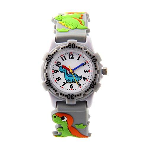 Reloj de pulsera Aprendizaje de Cuarzo Infantiles con Dibujo Animal 3D Analógico Cartoon Niños Niñas - Dinosaurio - Gris - con caja de regalo