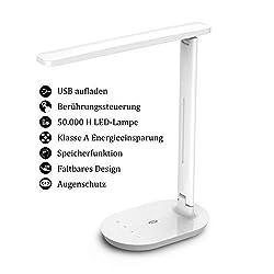 Deckey Schreibtischlampe Metall LED 12W B/üro Tischleuchte 5 Farb und 6 Helligkeitsstufen dimmbar Memory-Funktion USB-Anschluss f/ür Aufladung des Smartphones Tischlampe Augenschutz Touchfeldbedienung
