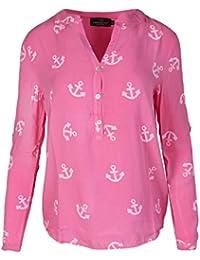 Zwillingsherz Bluse Damen mit Anker - Sommer Hemd - Hochwertige Schöne und  luftige Tunika Chiffon Blusen für Frauen - Elegantes Langarm… 527cf877ef