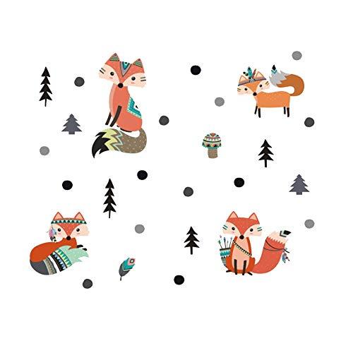 Lumanuby. 1x Karikatur Fuchs Wandaufkleber von 4 Fuchs in Verschieden Haltung mit Baum und Pilz PVC Tier Wandbilder von Nordamerikanischer Indianer Stil für Kindergarten, Wandtattoo Serie 61x25cm