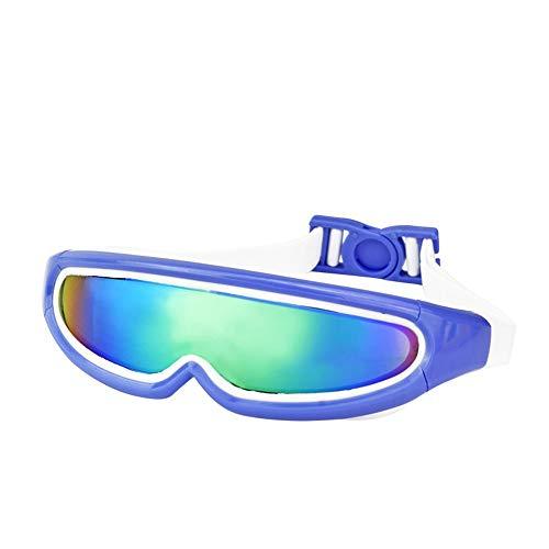 LPcool Taucherbrille,Outdoor Unisex Große Rahmen Bunte Überzogene Schutzbrillen Wasserdichte Anti-Fog-Silikon Schwimmen, Blau