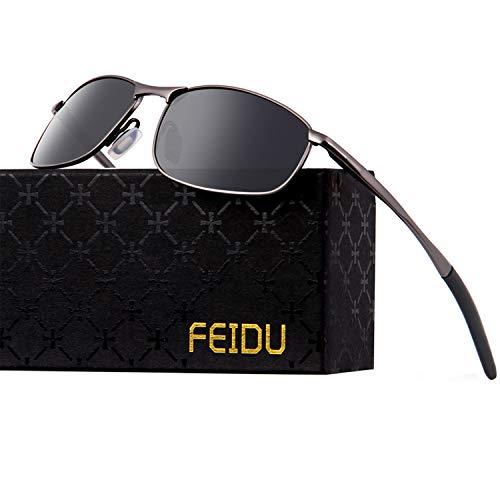 FEIDU Gafas de sol polarizadas para hombre Gafas de sol HD con lente HD para hombre FD 9005 (Negro/pistola, 2.24)