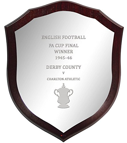 Derby County English FA Cup Winner 1945-46, Pewter Wooden Shield Derby-cup