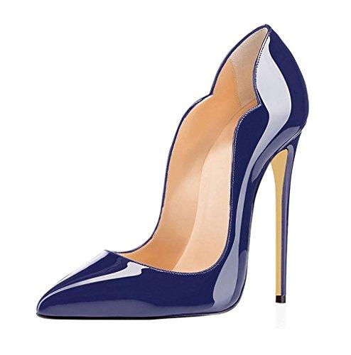 EDEFS - Femmes Escarpins - Chaussures à Talon Aiguille - 12 CM - Elegant Stilettos - Taille 35-45 Bleu
