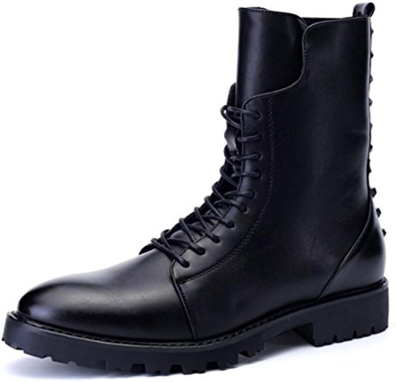 ZCH Herren Martin Stiefel Spitzen warme Stiefel in der Seite des Reißverschlusses lässig hoch  um Männer Boots