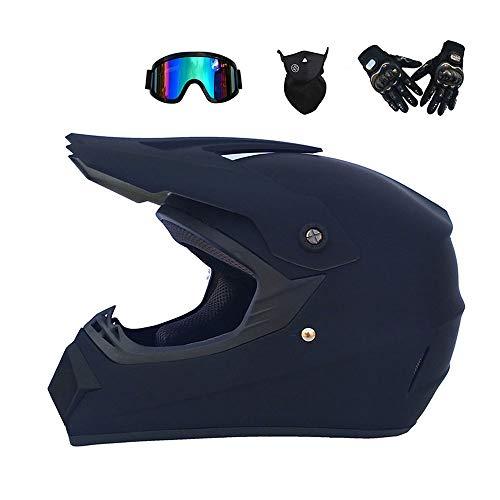 Motocross Helm ATV Dirt Fahrradhelm Old School Cross Country Dual Sport DOT genehmigt Winddichte Brille Maske Handschuhe Combo Motorrad Helm,Mattblack,M