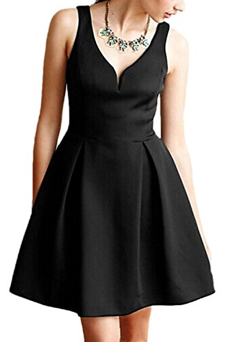 Frauen Ist Sommer Ärmellos V - A - Line Umfasst Cocktail - Kleid Black