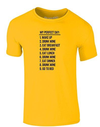 Brand88 - Perfect Day: Wine, Erwachsene Gedrucktes T-Shirt Gänseblümchen-Gelb/Schwarz