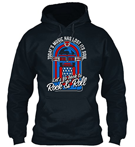 teespring Men's Novelty Slogan Hoodie - Tourist Music Has Lost Its Soul Let's Go Back To Rock and Roll