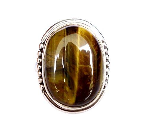 Naturale dell'occhio della tigre pietre preziose a mano 925 Sterling Silver Ring per le donne / uomini per mezzo di argento tibetano