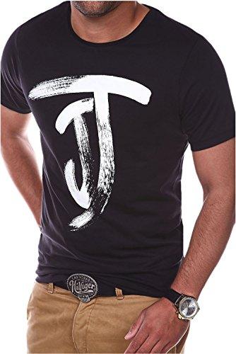 Jack & Jones Herren T-Shirt Kurzarmshirt Top Print Shirt Casual Basic O-Neck (L, Black)