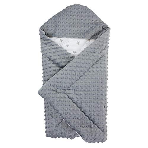 TupTam Baby Winter Einschlagdecke für Babyschale Wattiert, Farbe: Grau, Größe: ca. 75 x 75 cm