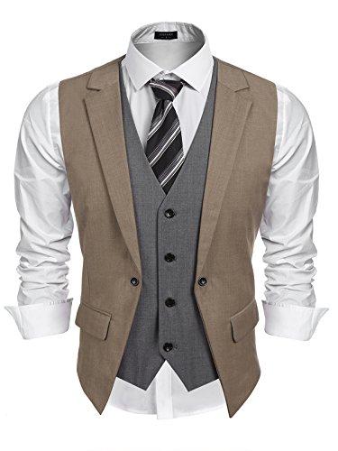 Burlady Herren Western Weste Herren Anzug Weste Slim Fit Gilet Business Anzugweste für Herren (M, A-Braun) (Für Kleid-casual-weste Männer)