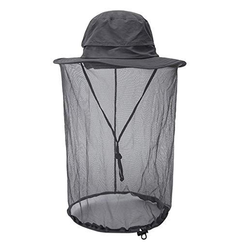 -Hut,Moskito-Kopf-Netz-Hut Mit Verstecktem Maschen-Schutz-Wanzen-Bienen-Plage Für Das Wandern,Grau ()