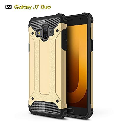 Aidinar Funda Samsung Galaxy J7 Duo, Funda Protectora Resistente a Prueba de Golpes Doble, PC Desmontable + TPU de Doble Capa Cubierta Protectora para Samsung Galaxy J7 Duo(Oro)