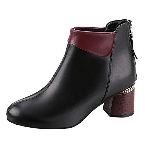 Robemon♚Chelsea Talons Boots Bottes Femme Automne Hiver Cuir Chic Tête Ronde Faible Bottines Fille Façon Zip Chaussures