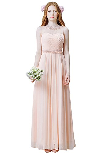 BeautyEmily Rückenfrei SeeThrough Sweet Heart OAnsatz Ohne Arm Abendkleid  Rosa