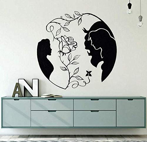 Luzhenyi Home Decor Beauty And The Beast Vinyl Wall Decal New  Rose Wall Sticker Inspired Love Wall Art Mural Bedroom Decals 57X56Cm