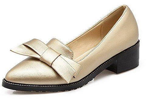VogueZone009 Femme à Talon Correct Matière Mélangee Couleur Unie Pointu Chaussures Légeres Doré