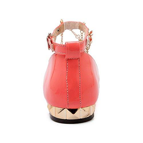 AgooLar Damen Lackleder Niedriger Absatz Schnalle Eingelegt Pumps Schuhe Wassermelone Farbe