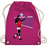 Volleyball - Volleyballspielerin Netz Ball - Unisize - Fuchsia - WM110 - Turnbeutel & Gym Bag