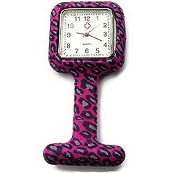 QBD Nurses Fashion Coloured Patterned Silicon Rubber Fob Watches - SQUARE Purple