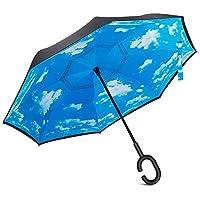 besting doble capa paraguas de marcha atrás, auxiliar plegable coche paraguas recto con forma de C mango resistente al viento lluvia UV Protección Primer Día venta 2017