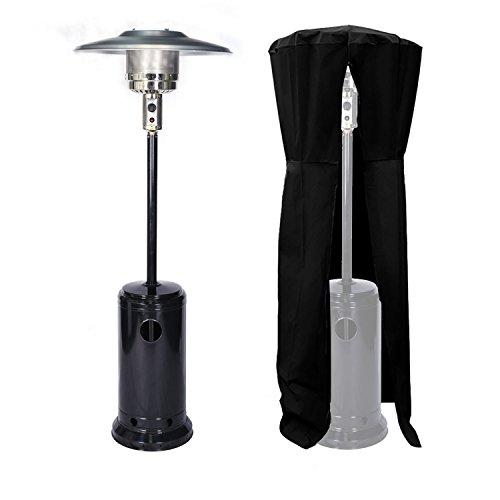 Parasol chauffant OSLO - chauffage d'extérieur gaz 13kW - acier noir + housse