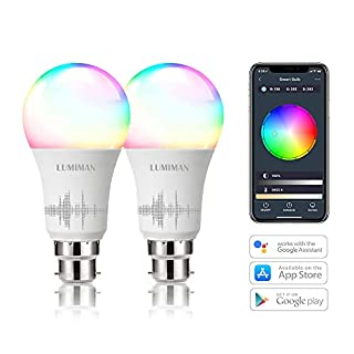 Alexa Smart WiFi Light Bulbs B22 Bayonet 2 Pack by LUMIMAN RGBCW Colour 7.5w, Compatible with Alexa and Google Assistant, 60W Remote Control by Smart Phone iOS & Android, No Hub Required
