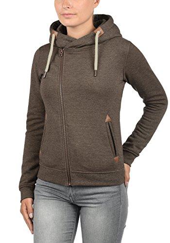 DESIRES Vicky Zip-Hood Damen Sweatjacke Kapuzenjacke Hoodie Mit Kapuze Fleece-Innenseite Und Cross-Over-Kragen, Größe:XS, Farbe:Coffee Bean Melange (8973) - 2