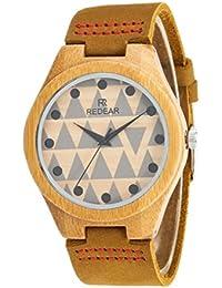 Qiaoqi Reloj de lana de bambú hecho a mano natural de los mujeres con la correa de cuero Classico Reloj de pulsera de cuarzo japonés Reloj de madera