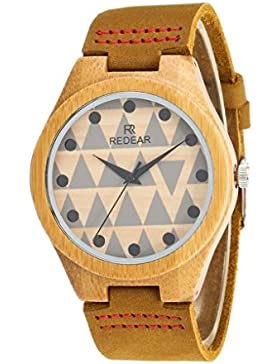 Redear Quarzuhr Bambus Holzuhr Japan Bewegung Leben wasserdicht Armbanduhren Uhren f¨¹r Damen Watch Leder Band
