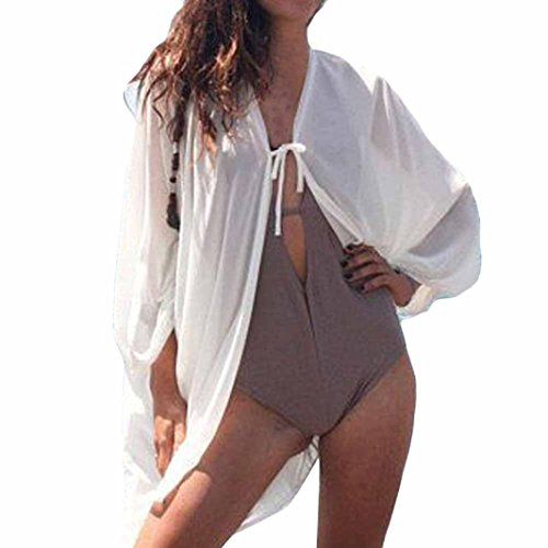 OSYARD Damen Reine Farbe Cover Bluse Tops Bikini Bademode Strand Badeanzug Kittel(EU 60/S, Weiß)