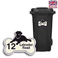 Labrador Dog - Personalised Wheelie Bin Sticker/Vinyl Labels with House Number & Street Name - Size A5 [4 Pack]