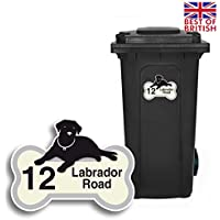 Labrador–Papelera personalizada adhesivo etiquetas de vinilo con número de casa y nombre de la Calle–Tamaño A5[Juego de 4]