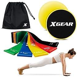 XGEAR Gomas Elasticas y Discos Deslizantes Fitness Set de 5 Bandas Elásticas Cintas de Resistencia 2 Sliders Pilates Yoga Crossfit Estiramiento Unisex Regalo