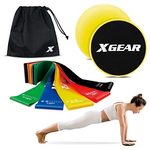 XGEAR Fitnessbänder 5er-Set und EIN Paar Slidepads Coretraining Muskelaufbau & Krafttraining Loopbänder 100{af5813b649764f8ba2ea47d30fbeca2ecfc539371f5e014e2b68aa745d9f3dbd} Naturlatex hautfreundlich