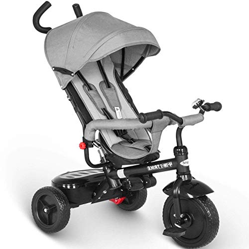 besrey 4 in 1 Triciclo Passeggino per Bambini Triciclo con maniglione Triciclo a Spinta con Tetto apribile 12 Mesi a 5 Anni (Grigio)…