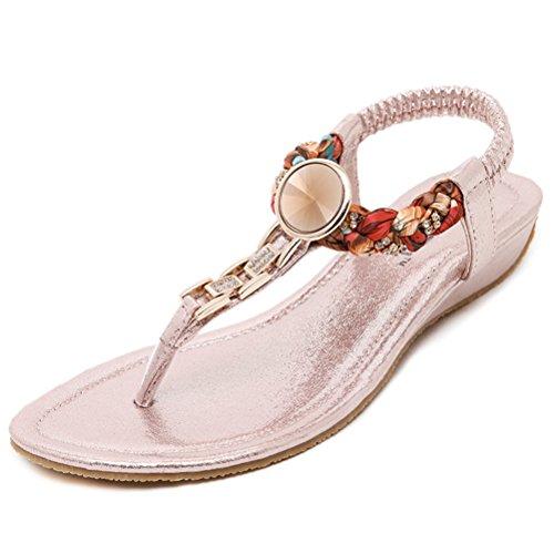 Sommer Damen Keilabsatz Große Strass Böhmen Stil Blumendekoration Einfache Lässige Sandalen Pink