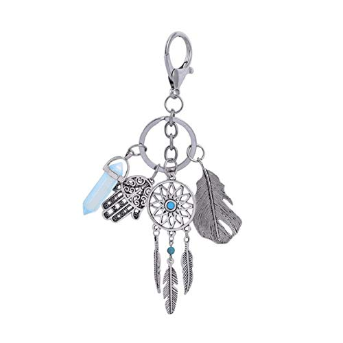 Jinxuny Portachiavi Dream Catcher Piuma Tassel Leaf Portachiavi Vintage Feather Dream Catcher Boho Gioielli Portachiavi Portachiavi Accessorio di Moda Car Keys Borsa Donna Deco