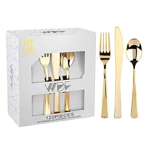 Design Gold Trim (WDF 60pcs Einweg Kunststoff bowls-12oz Suppentellern-Rose Gold Trim Real China Design-PREMIUM Heavy Duty Kunststoff Teller Für Hochzeiten/Partys Gold Cutlery)
